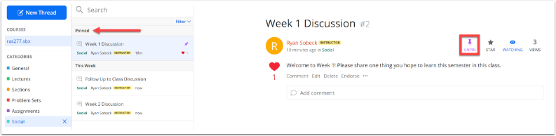 Full Ed Discussion interface with Pinned section of the thread list identidied and Pinned icon highlighted.