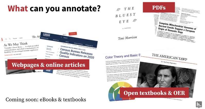 Types of items you can annotate including open textbooks, articles, web pages and pdfs