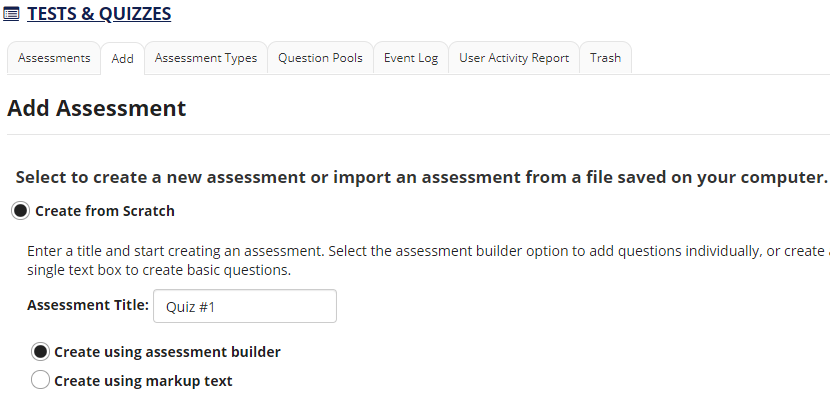 Screenshot shows Add Assessment page.