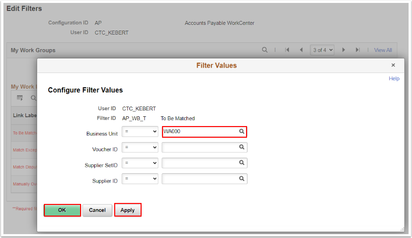 Configure Filter Values section