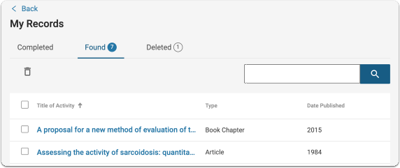 Matched records are grouped together according to publication type such as Article, Book, Book Chapter and Publication Records.