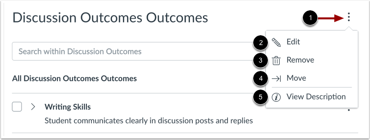 View Outcome Group Settings
