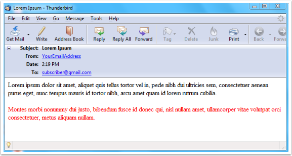 When the message was received by the recipient, this is how it looked like when the email reader was setup to accept HTML by default.
