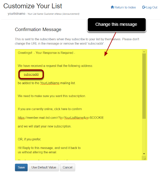 """Next, click on """"Confirmation Message"""" below """"Subject Line on Confirmation Message"""" and make changes:"""