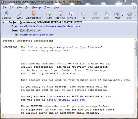 The message is assigned a serial number and saved in a queue in our system. An email is sent back to you: