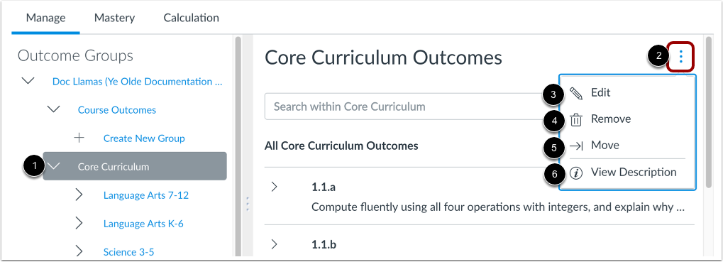 View Outcome Group Options