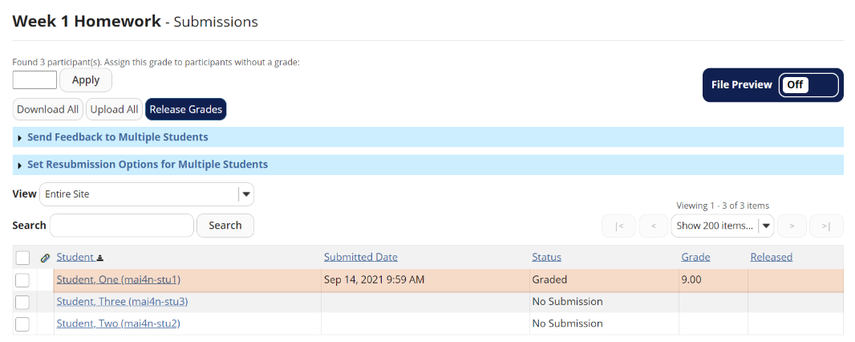 View grades.