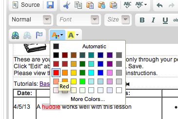 To change text color, select text.  Choose the text color icon (orange A button).  Then choose the color from the menu.