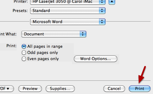 """Print.  Then go back and unclick the """"hidden text"""" check box."""