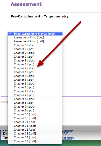 2. The link takes you to the site where each of the chapter files are located.