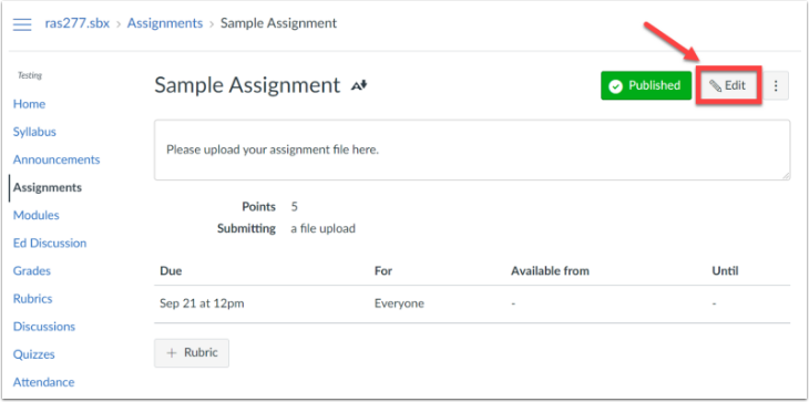 Assignment page with the Edit button highlighted.