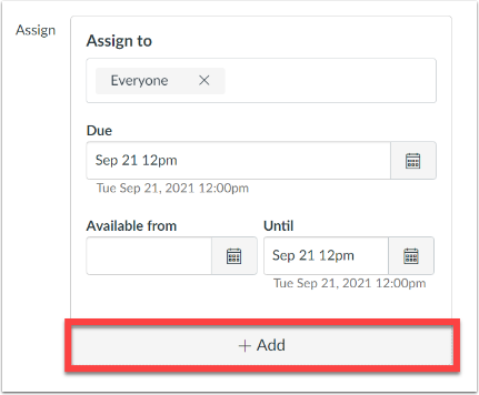 Assign settings box with the Add button highlighted.