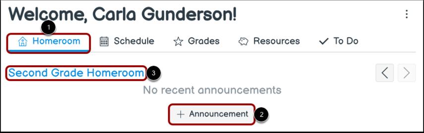 Add Homeroom Announcement