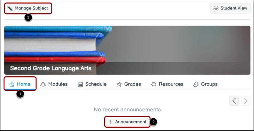 Add Subject Announcement