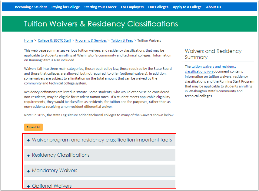 Tuition Waivers & Residency Classifications