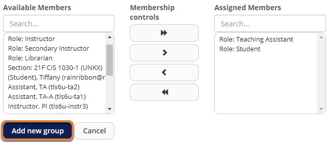 Screenshot showing Role, Teaching Assistant and Role, Student in Assigned Members list, and Add new group button highlighted.