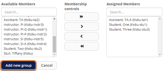 Screenshot showing a TA and 2 students in Assigned Members list, and Add new group button highlighted.