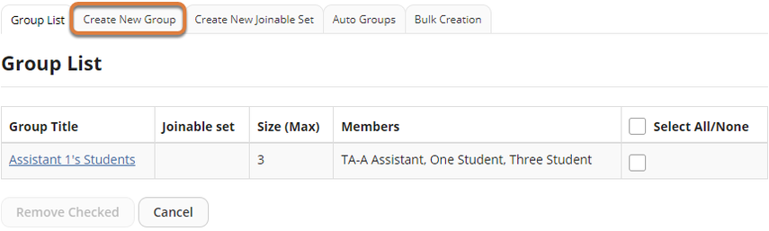 Screenshot of Group List page after a group has been added, with Create New Group tab highlighted.