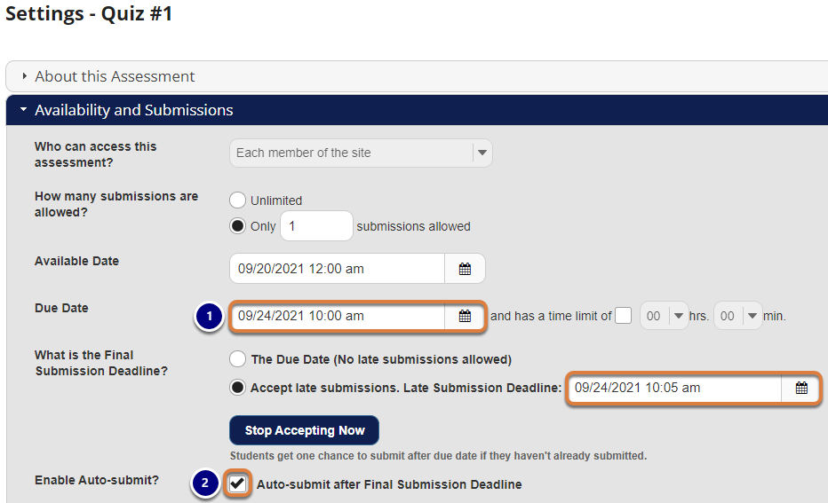 Screenshot shows example dates and Auto-submit checkbox selected in Settings. Graphic link opens modal with larger image. Press Escape to exit modal.