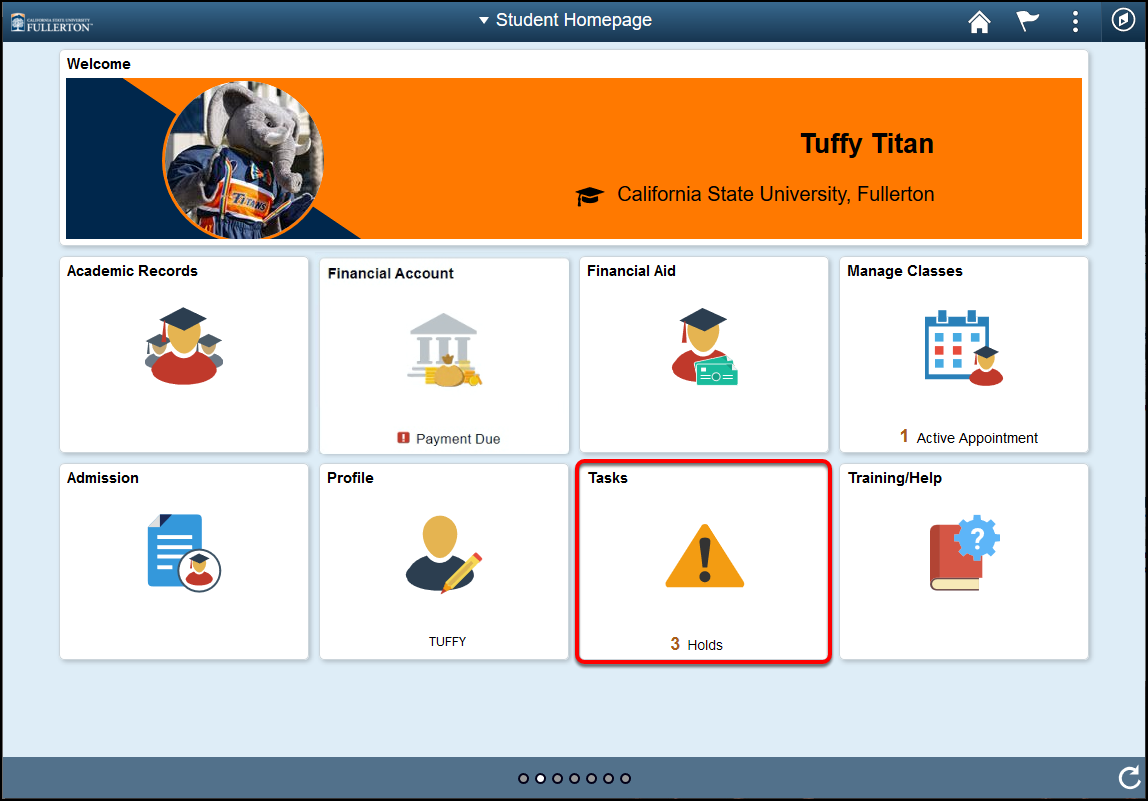 student homepage with holds highlighted