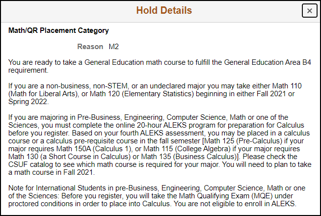 hold details - informational hold
