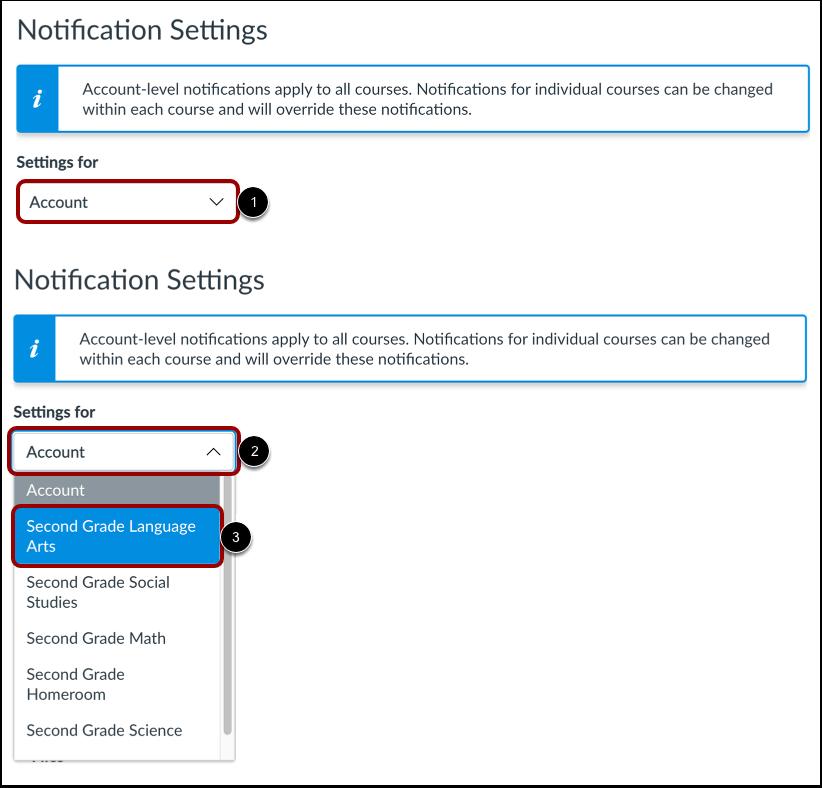 Ver la configuración de las notificaciones de Canvas for Elementary (Canvas for Elementary Notification Settings)
