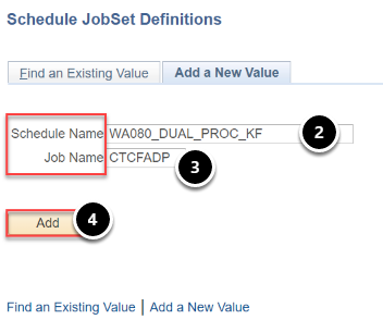 JobSet Definitions Search Criteria page with Schedule Name and Job Name defined