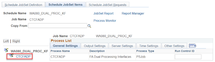 Schedule JobSet Items page with CTCFADP link annotated