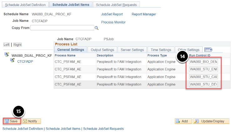 Schedule JobSet Items page with run control ids