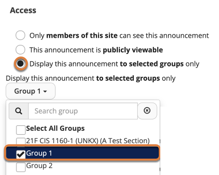 """Screenshot shows Access settings for an announcement. The """"Display this announcement to select groups only"""" radio button is selected. In the group selection dropdown menu, """"Group 1"""" is selected. Graphic link opens modal with larger image. Press Escape to exit modal."""