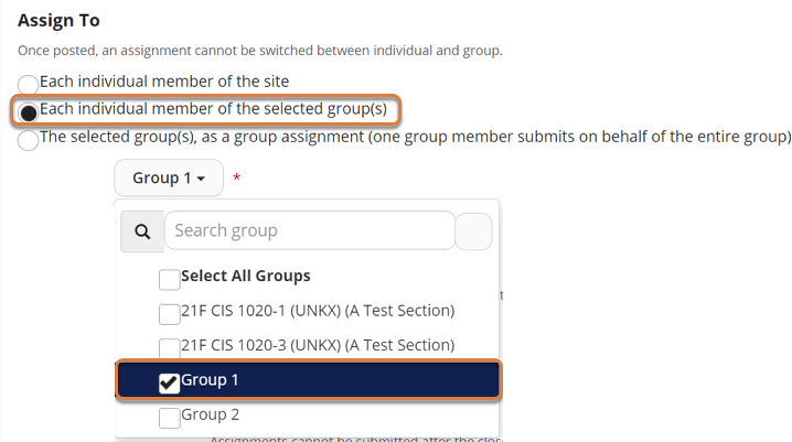 """Screenshot shows the Assign To settings for an assignment. The """"Each individual member of the selected group(s)"""" radio button is selected. In the group selection dropdown menu, """"Group 1"""" is selected. Graphic link opens modal with larger image. Press Escape to exit modal."""