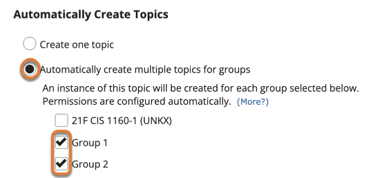 """Screenshot shows the Automatically Create Topics settings when creating a new topic in the Discussions tool. The """"Automatically create multiple topics for groups"""" radio button is selected. Underneath, the checkboxes for two groups are selected. Graphic link opens modal with larger image. Press Escape to exit modal."""