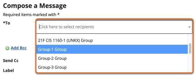 Screenshot shows the Compose a Message screen in the Messages tool with the To dropdown menu expanded. The dropdown menu shows a list of groups that can be selected. Graphic link opens modal with larger image. Press Escape to exit modal.