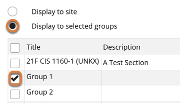 """Screenshot shows the display settings for a new event in the Calendar tool. The """"Display to selected groups"""" radio button is selected. Below, the checkbox for """"Group 1"""" is selected. Graphic link opens modal with larger image. Press Escape to exit modal."""