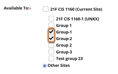 """Screenshot shows the """"Available To"""" settings for a new meeting in the Sign Up tool. The checkboxes for """"Group-1"""" and """"Group-2"""" are selected. Graphic link opens modal with larger image. Press Escape to exit modal."""
