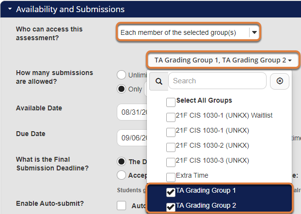 """Screenshot shows the Availability and Submissions settings for an assessment in the Tests & Quizzes tool. Next to """"Who can access this assessment?,"""" """"Each member of the selected group(s)"""" is selected. Below, the group selection menu is expanded and the checkboxes for two groups are selected. Graphic link opens modal with larger image. Press Escape to exit modal."""
