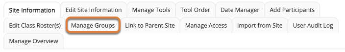 """Screenshot shows the navigation menu for the Site Settings tool. The """"Manage Groups"""" link is highlighted. Graphic link opens modal with larger image. Press Escape to exit modal."""