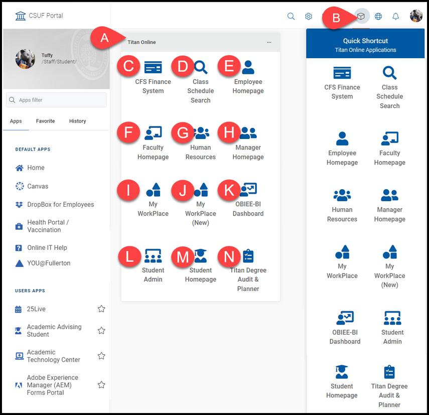 Titan Online widget and Titan Online Apps menu on the CSUF portal homepage