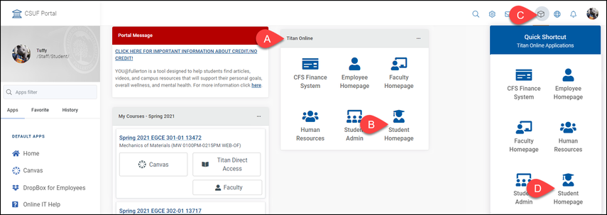 CSUF portal homepage