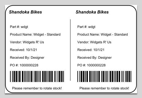 PO Receive Label example
