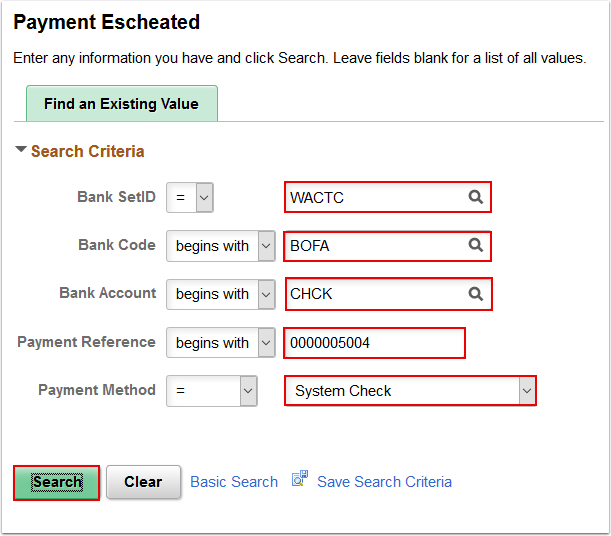 Payment Escheated page