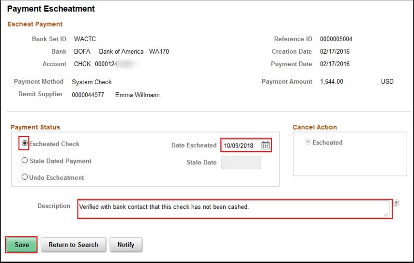 Payment Escheatment page