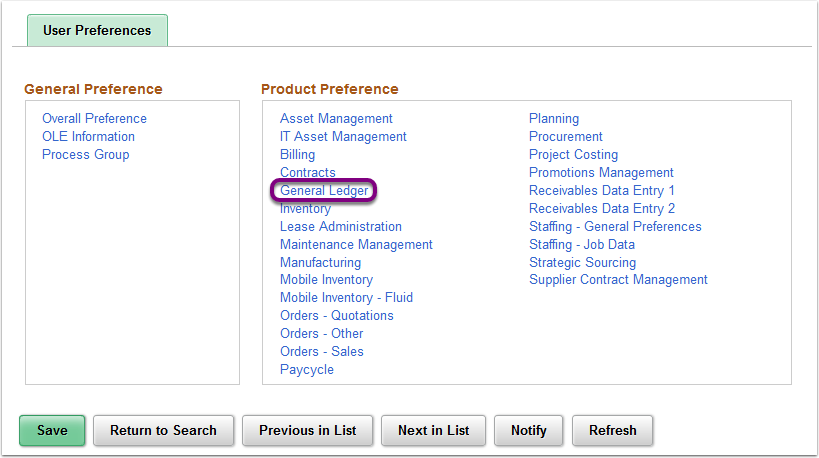 Product Preference - General Ledger