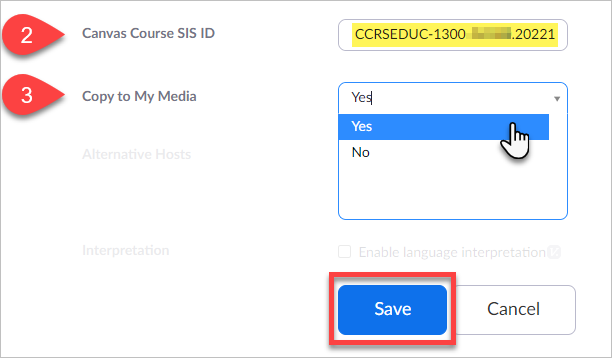"""Paste the SIS ID in the Zoom meeting/recording settings field titled """"Canvas Course SIS ID"""""""