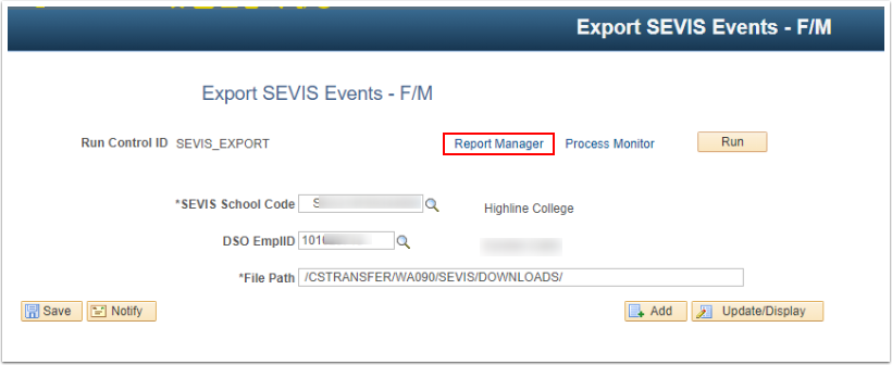 Select the Report Manager Link