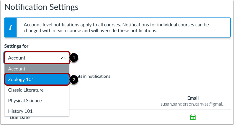 Open Course Notification Settings