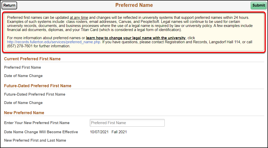 Arrow pointing to Preferred Name Statement