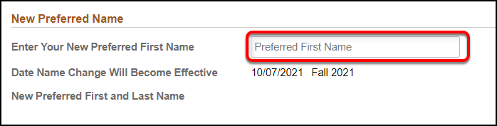 Arrow pointing to Enter Your New Preferred First Name field