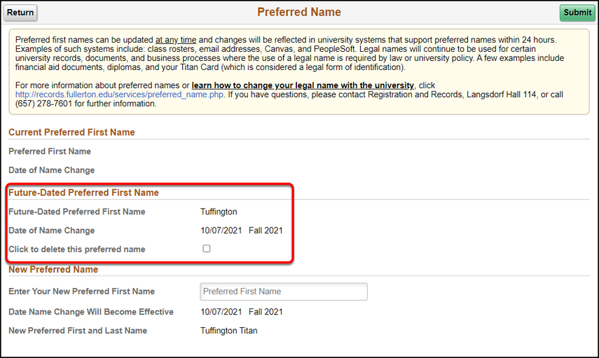 Arrow pointing to Future-Dated Preferred First Name information