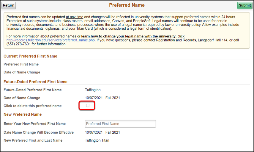 Arrow pointing to Click to delete this preferred name checkbox